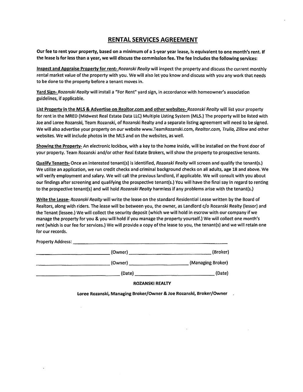 Rental Services Agreement